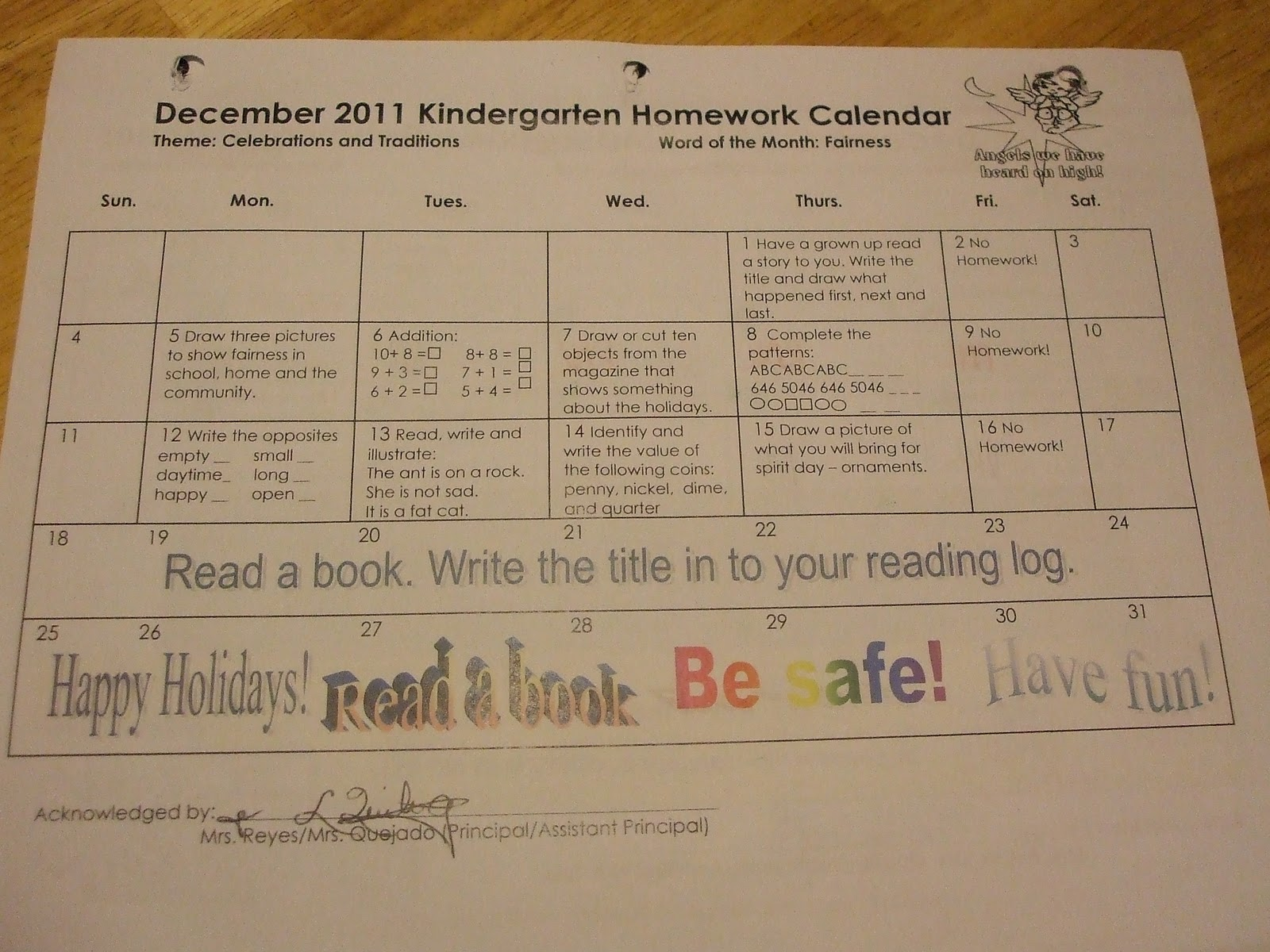 December Calendar Art Kindergarten : Kindergarten news at lbj february