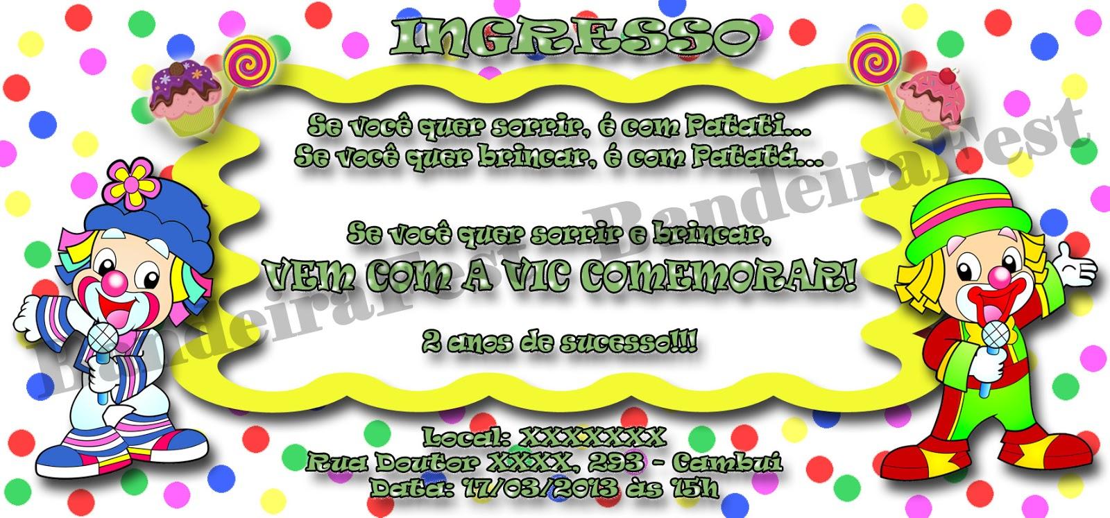 Bandeirafest Convites Do Patati Patatá Para Aniversário Infantil