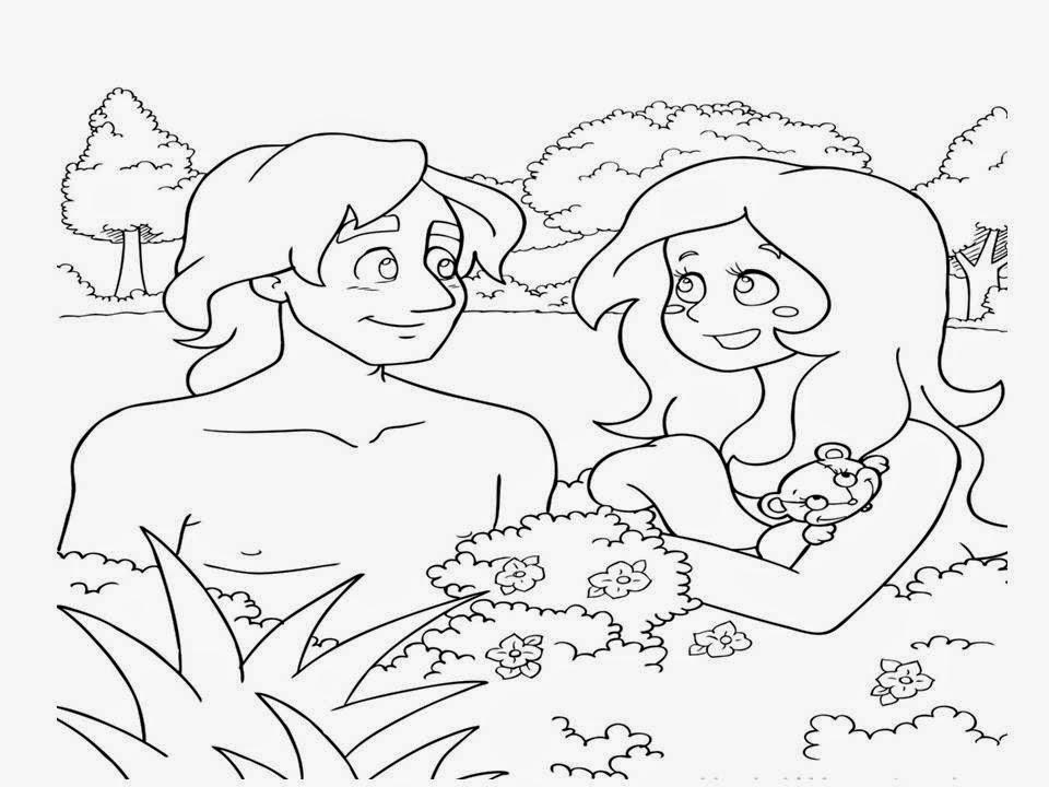 Adão e Eva desenho para colorir