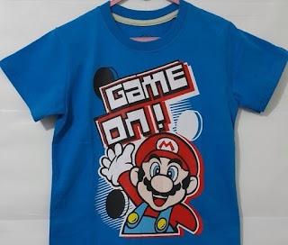Baju Anak Karakter Mario Game Biru Size 7 - 10 Y
