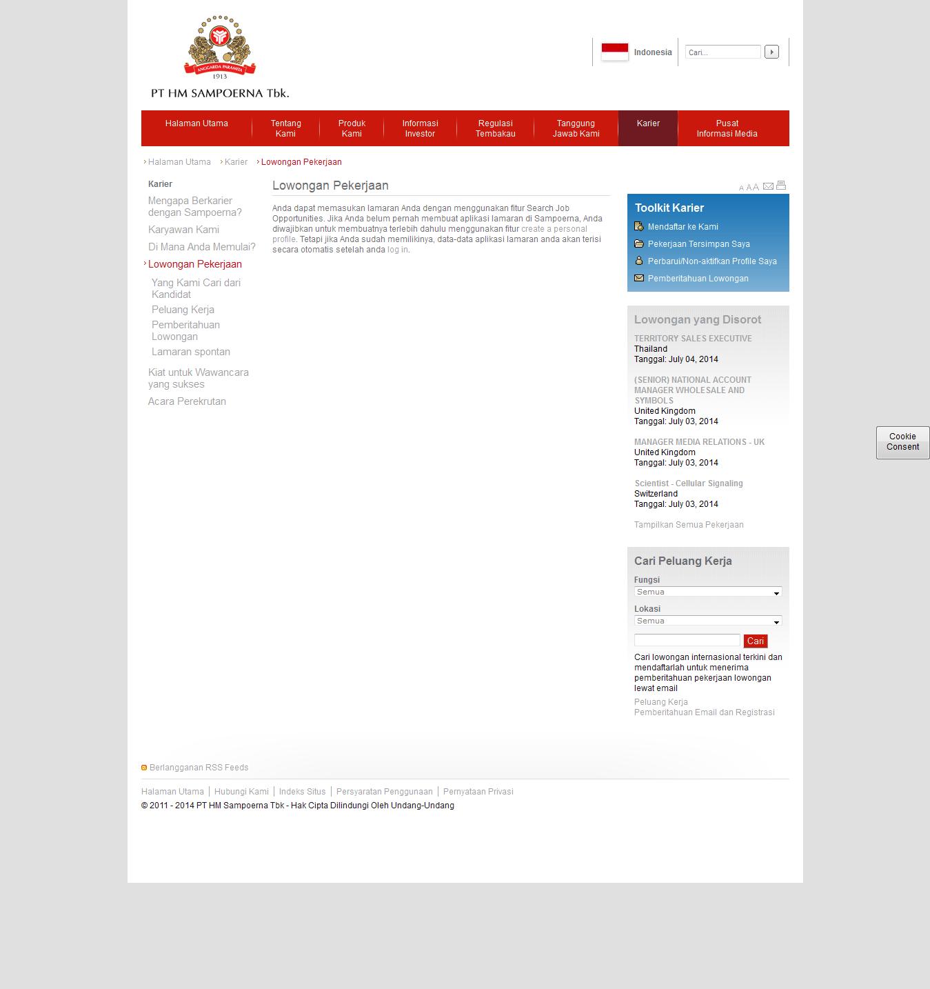 Lowongan kerja PT Hanjaya Mandala Sampoerna Tbk (HM Sampoerna)