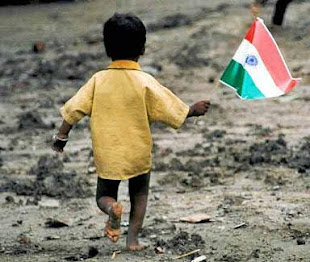 indian flag with indian boy