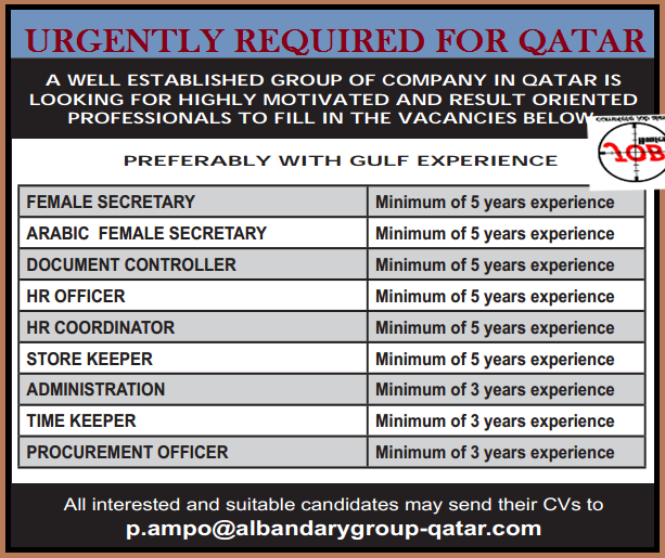 Urgent Vacancy For Qatar - Jobhunferfb