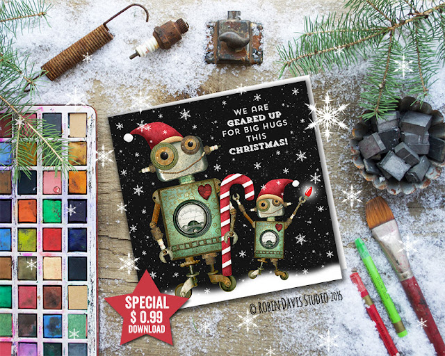 Robot Christmas Printable Card Only $0.99 by Robin Davis Studio