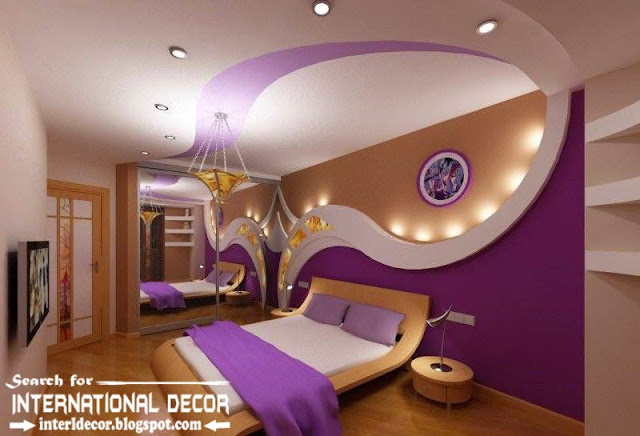 Modern pop false ceiling designs and drywall for bedroom 2015, purple bedroom