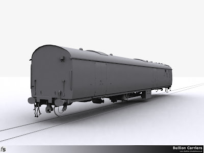 Fastline Simulation - Bullion Carriers: An in development render of the NWX Bullion Van for Train Simulator 2013. The completed body and under frame viewed from the van end and just waiting for bogies.
