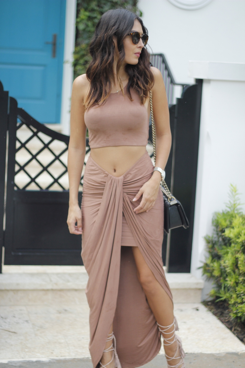 hot miami styles suede skirt and crop top
