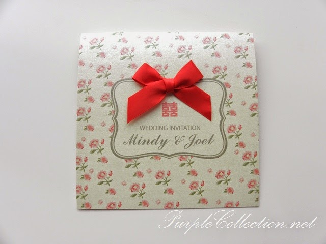 Wedding invitation card chinese double happiness with red bow stopboris Image collections
