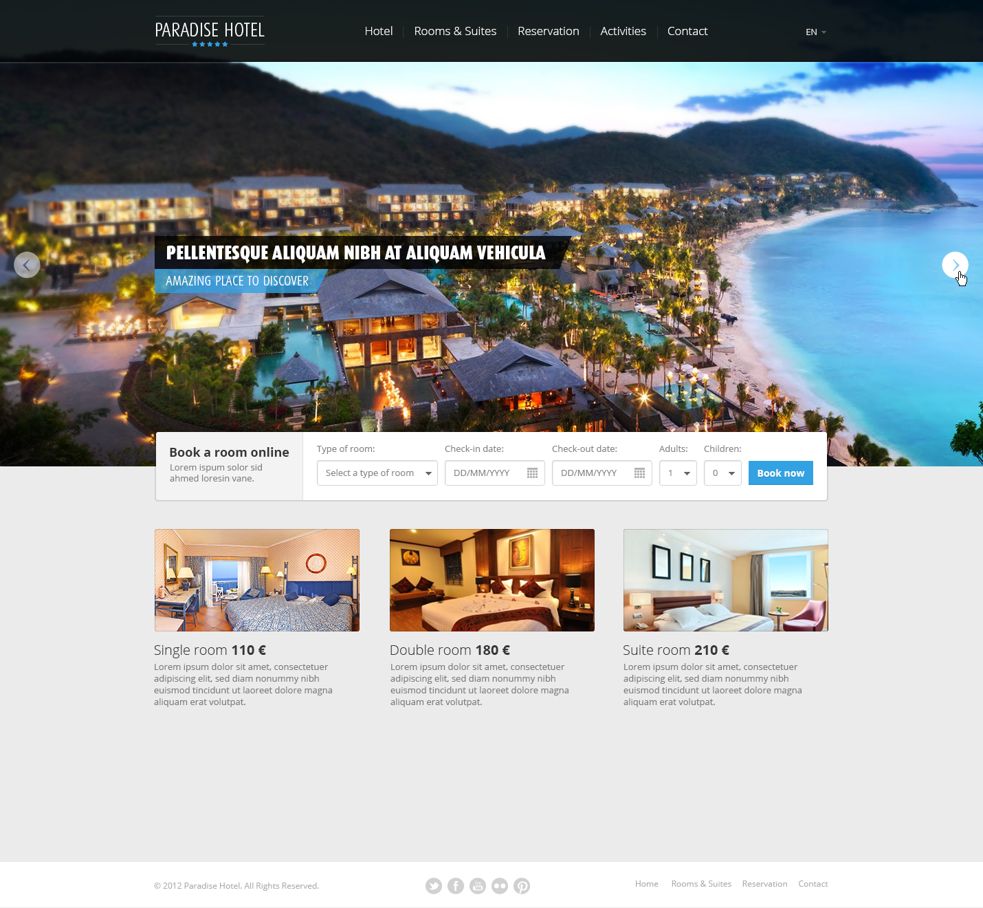 Free Hotel Web PSD Template