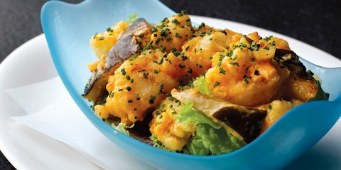 Creamy and spicy rock shrimps