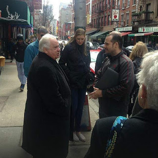 Eric Ferrara on location with actor Vinny Vella in Little Italy