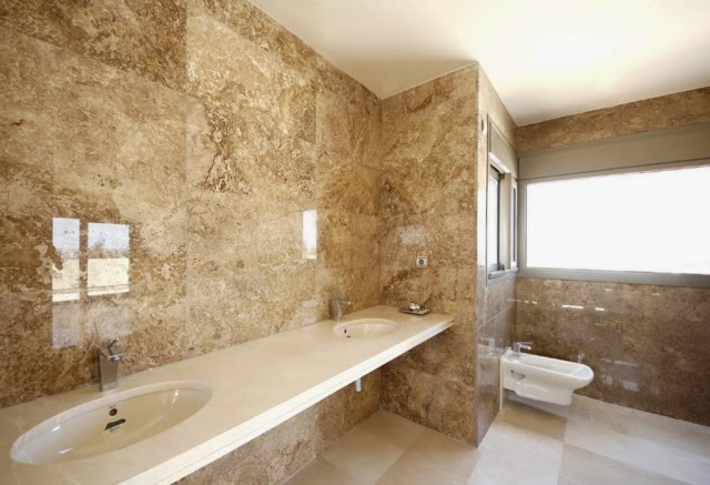 Charmant Bathroom Marble Tiles Glazed Wall Beige Double Basin