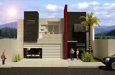 Fachadas de casas modernas fachada de casa contempor nea for Cocheras minimalistas