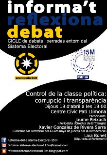 Cartell Xerrada sobre Control de la classe política. 19 d'abril a les 19h al Pati Llimona