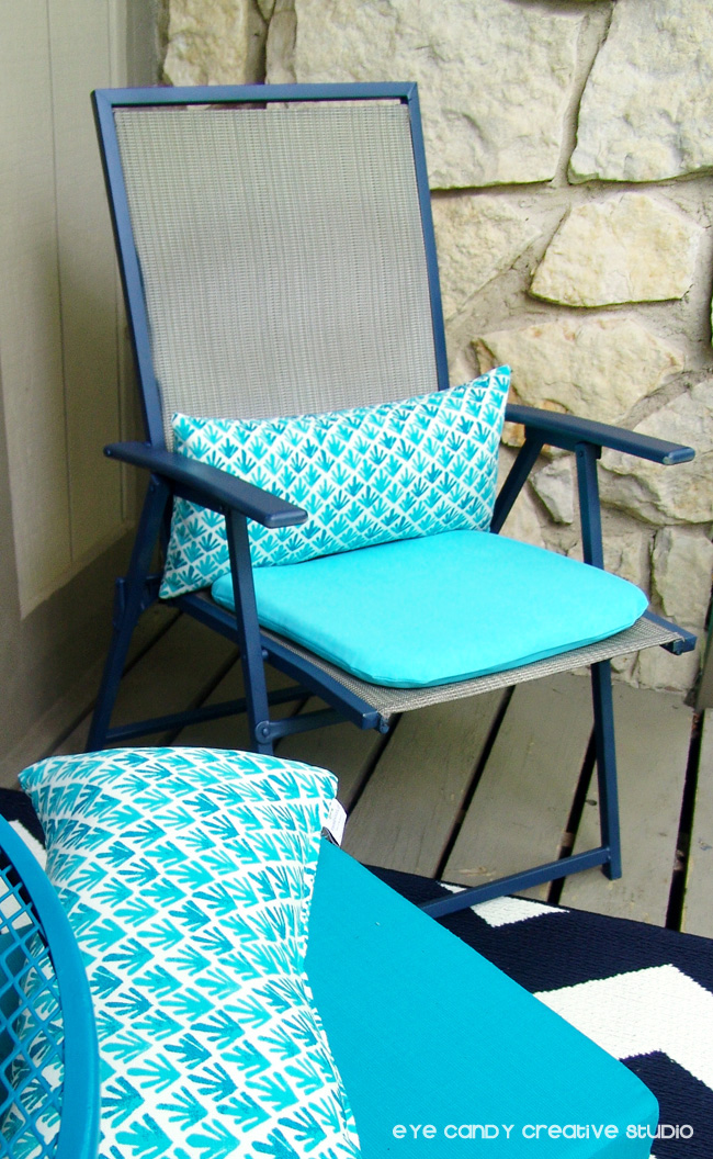 finished patio chair, spray paint patio chair, outdoot chair makeover