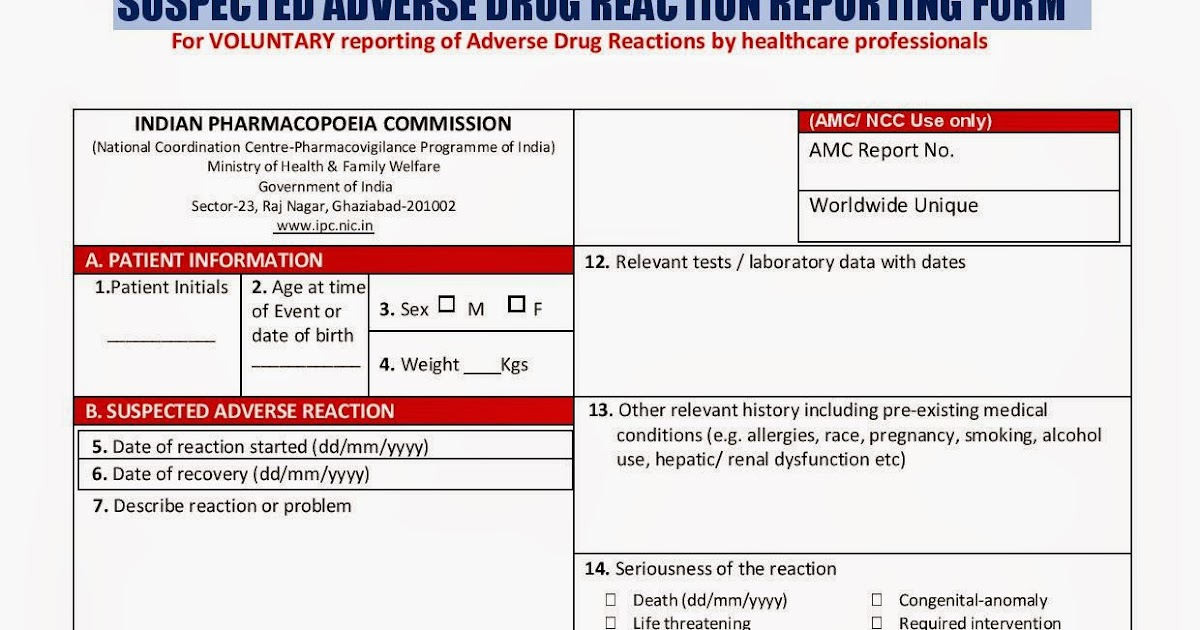 IPC: Suspected Adverse drug reaction reporting form for