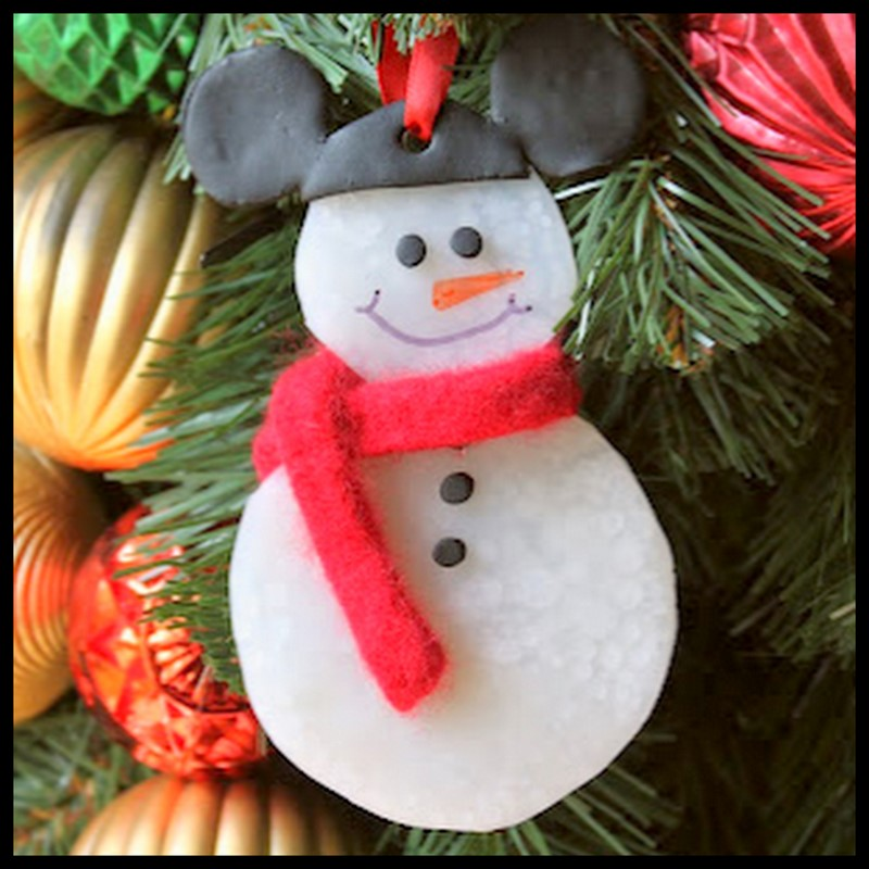 Dollar store crafter mickey mouse snowman ornament and