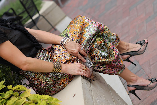 Harem Pants from Woman Shops World, J. Crew Bouse, Kate Spade Pumps, JJ Winters Clutch,