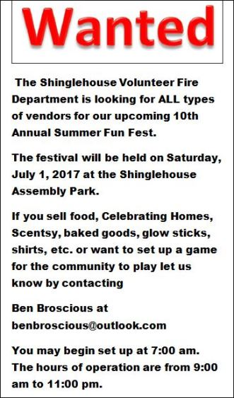 7-1 Vendors Wanted For Summer Fun Fest