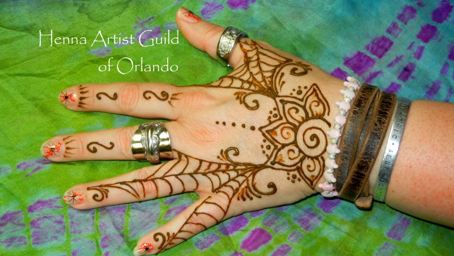 Halloween spider web henna design