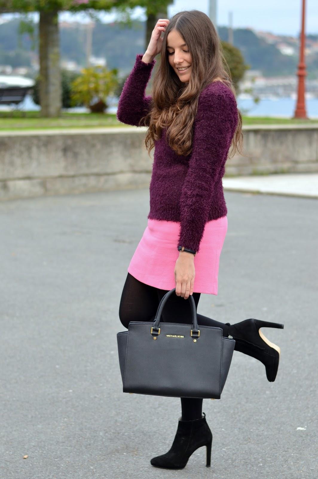 H&M purple sweater, pink skirt, michael kors selma