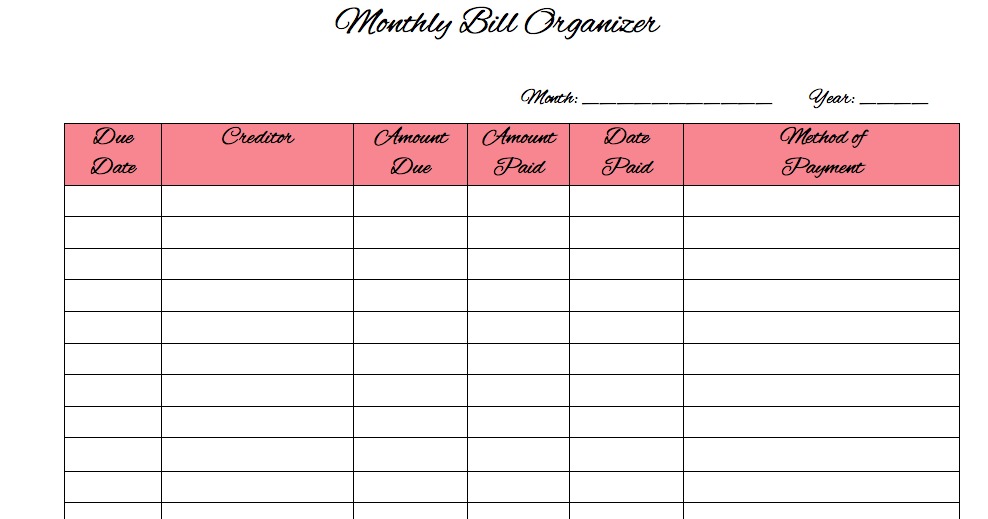home finance bill organizer template - binkies and boots home management