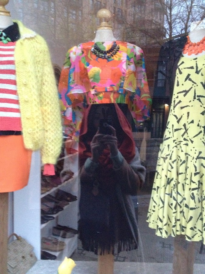 vintage floral dress, community thrift and vintage store window display