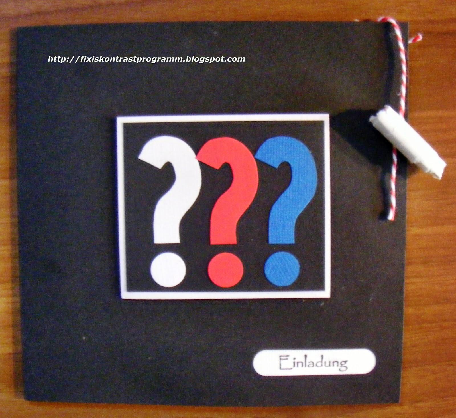 Kontrastprogramm: Die drei Fragezeichen- eine Party - Detektiv Geburtstag Einladungskarte