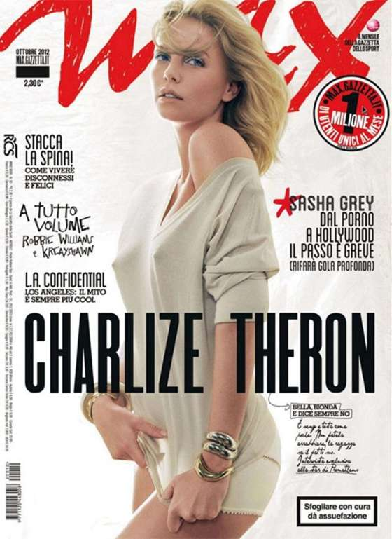 Charlize Theron poses on the cover of Max Magazine
