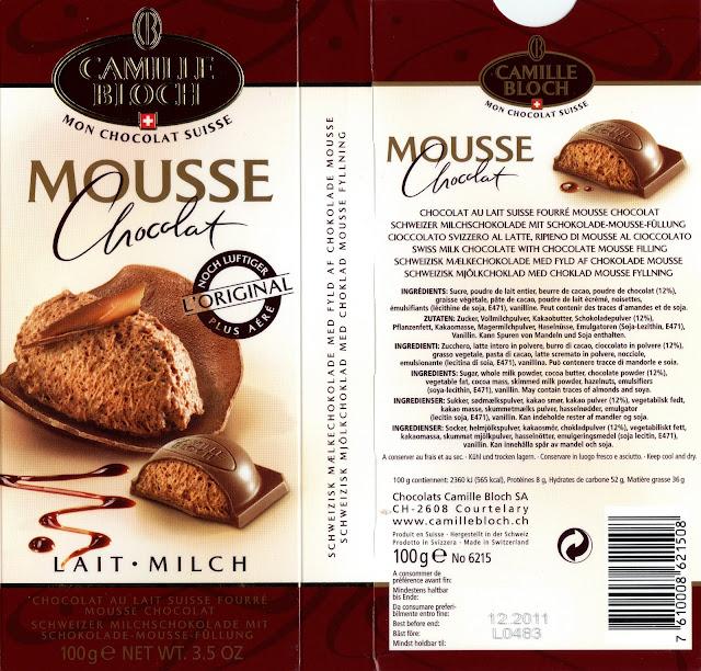 tablette de chocolat lait fourré camille bloch lait mousse chocolat