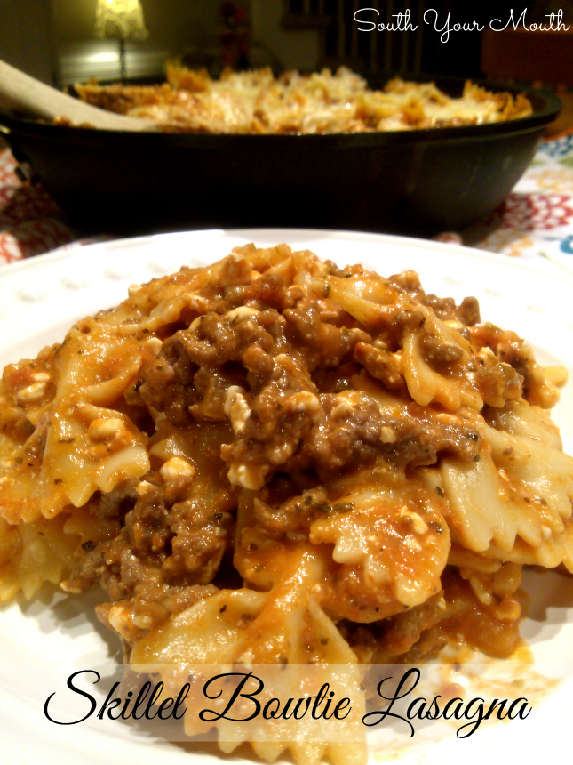South Your Mouth: Skillet Bowtie Lasagna