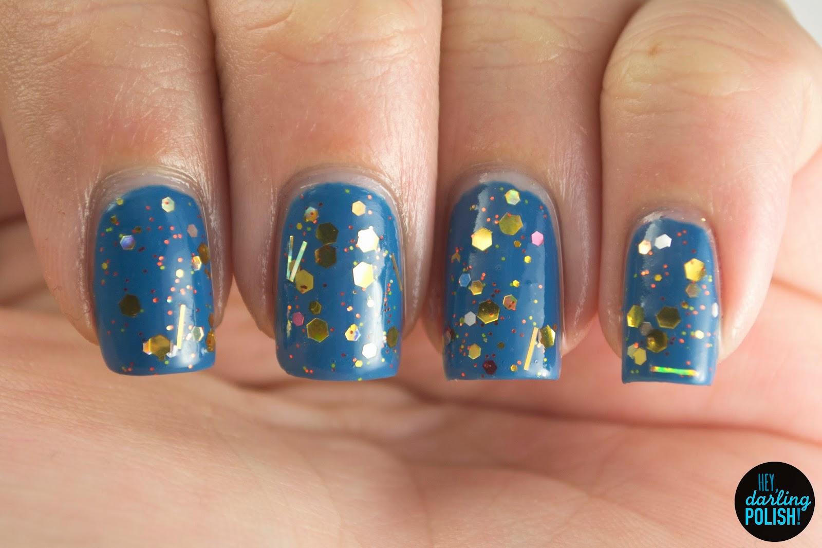 gold, sunburst, blue, nails, nail polish, polish, indie, indie polish, indie nail polish, glitter, swatch, hey darling polish, northern star polish