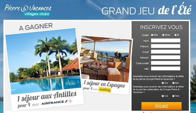 Jeu concours Pierre & Vacances: 1 séjour en Martinique + 1 séjour en Espagne à gagner
