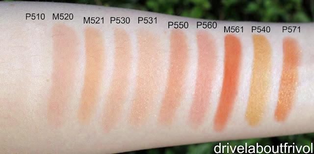 Shu Uemura blush swatch P 510, M 520, M 521, P 530, P 531, P 550, P 560, M 561, P 540, P 571