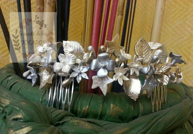 semicorona para novia en blanco perla, plata y oro champagne