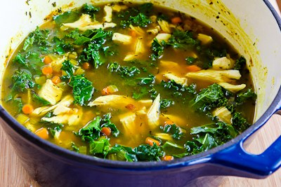 ... Kitchen®: Recipe for Chicken Soup with Farro, Kale, and Turmeric