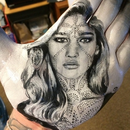 07-Jennifer-Lawrence-Russell-Powell-Hand-Body-Painting-Transferred-to-Paper-www-designstack-co