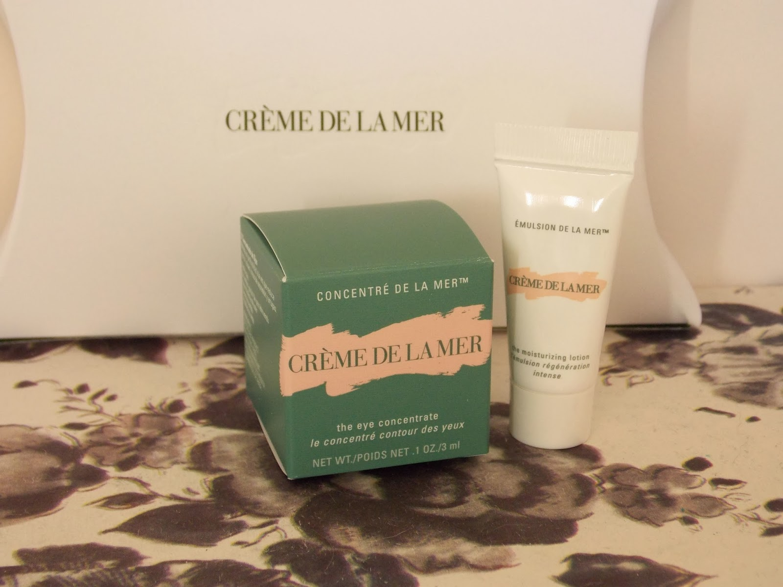 Creme de la Mer moisturing lotion and eye concentrate