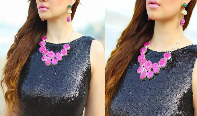 Agate Magenta Stone Necklace, Stone earrings, Semi-Precious Jewelry, Silvette
