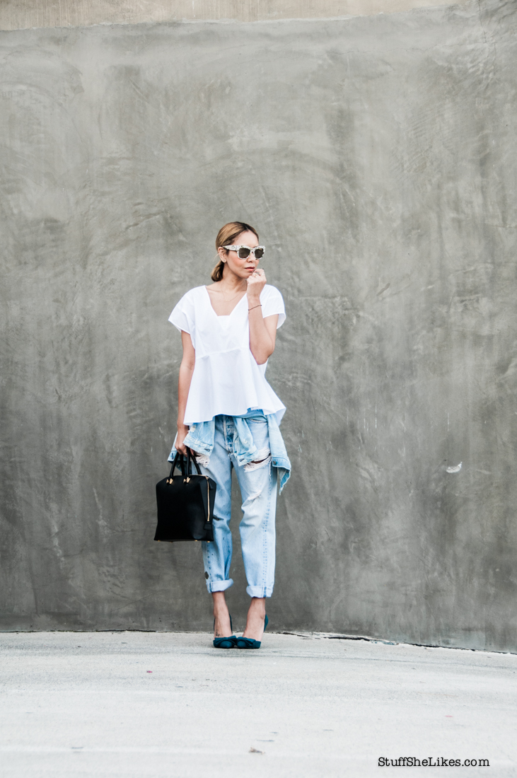 levis, blogger, top fashion blogger, vintage denim, best LA fashion Bloggers, zara, Justfab shoes, green shoes, StuffSheLikes