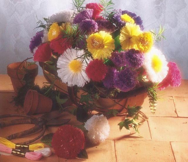 цветы из мулине