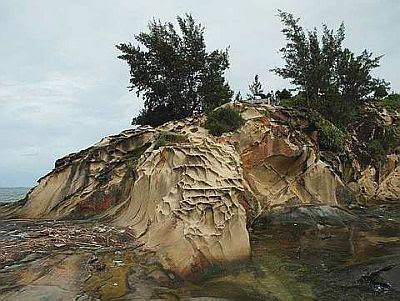 Act of nature: The wind and water have created some very beautiful natural sandstone formations at the tip of Borneo.