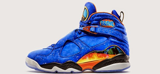 ... this Air Jordan 8 Retro DB is a part of the 2014 Nike x Doernbecher  Freestyle Collection. They come in a hyper blue, electro orange, black, stadium  grey ...