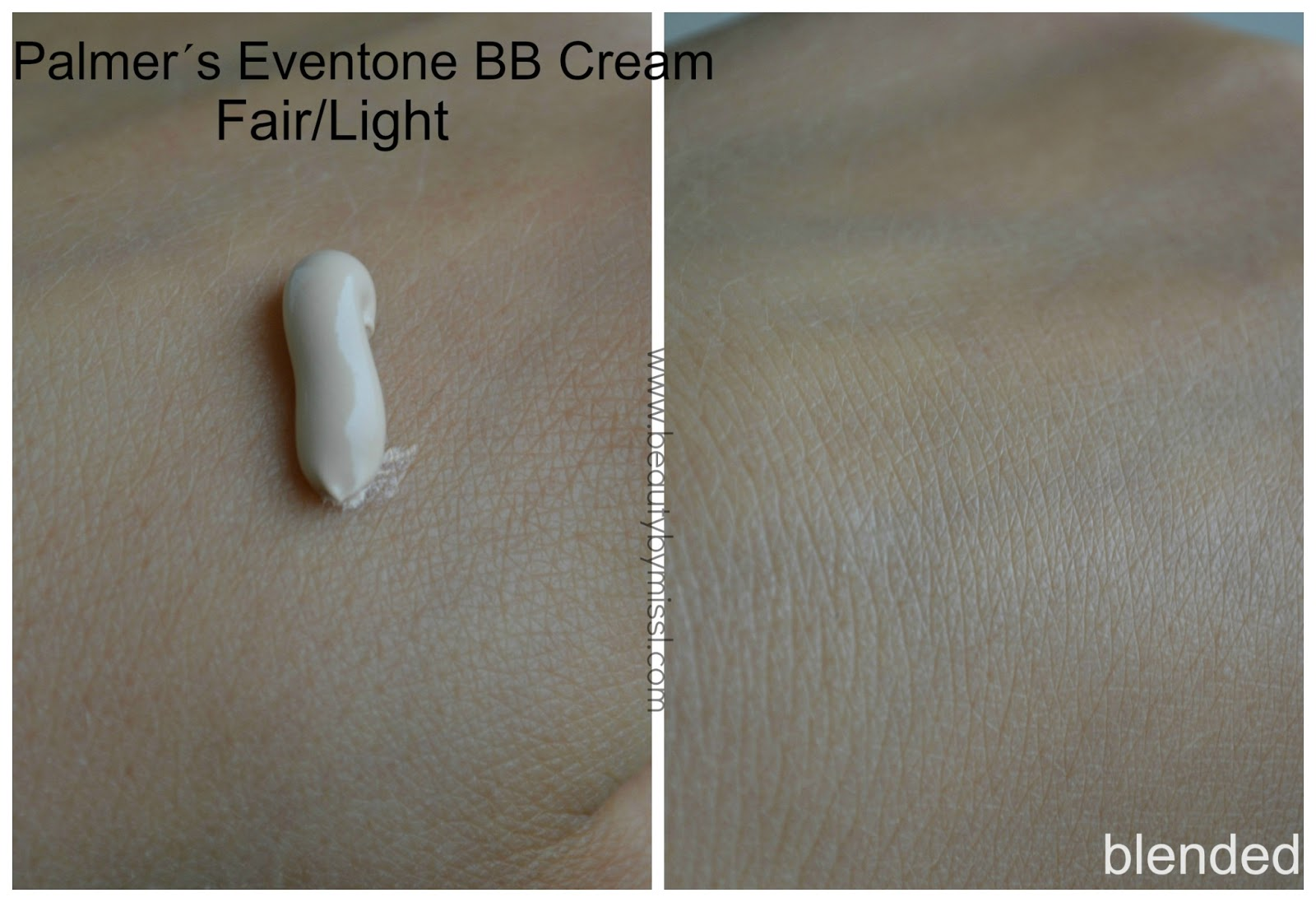 eventone bb cream swatch blended on skin