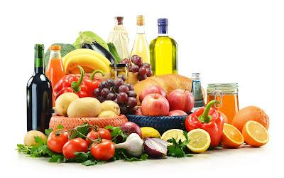 Frutas, Vegetales y Aceites para una comida saludable, deliciosa y natural