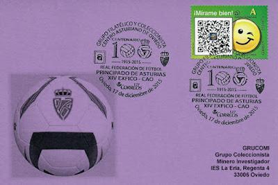 Tarjeta de Grucomi con el Matasellos del Centenario de la Federación asturiana de Fútbol del Centro Asturiano
