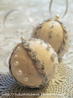 новогодние игрушки из фетра, игрушки на ёлку своими руками, новогодние шары
