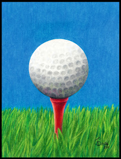 Color pencil drawing of golf ball and tee