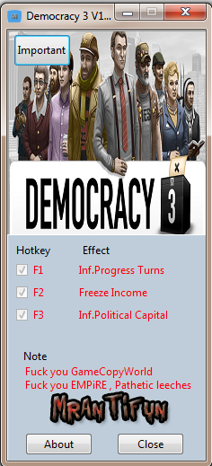 Democracy 3 V1.11 Trainer +3 MrAntiFun