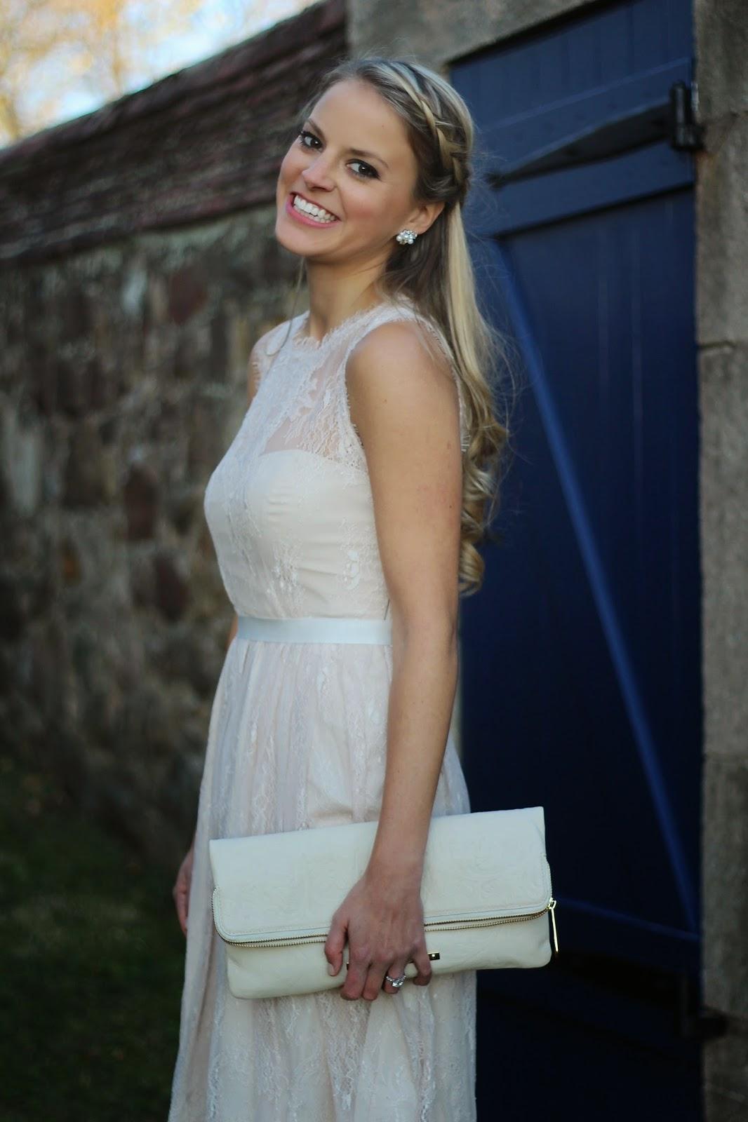 engagement party dress, bridal dress, wedding, bhldn, lace dress, bridal shower dress, bride, braids, braid hairstyles